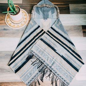 Aztec pattern hooded wrap
